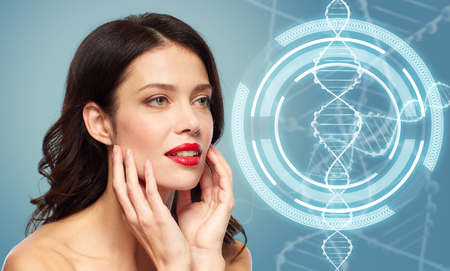 woman with red lipstick over dna molecule