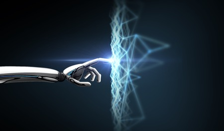 robot hand connecting to virtual network Stock Photo