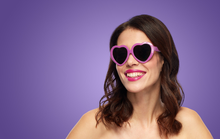 woman with heart shaped shades over ultra violet