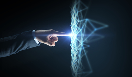 businessman hand connecting to virtual network Stock Photo