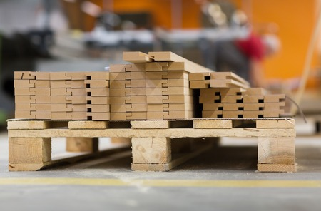 wooden boards or fibreboards at woodworking plant Stok Fotoğraf - 98118375