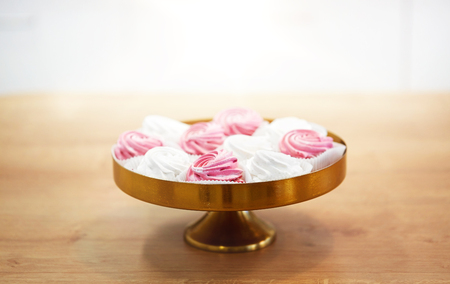 zephyr or marshmallow on cake stand