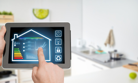 tablet pc with smart home settings on screen