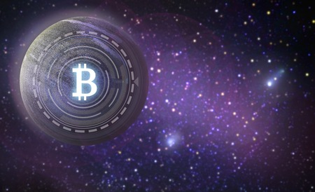 bitcoin symbol hologram over planet in space Banco de Imagens - 99297318