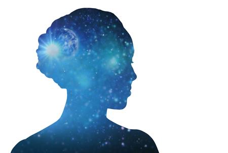 白い背景の上に空間の女性のシルエット 写真素材