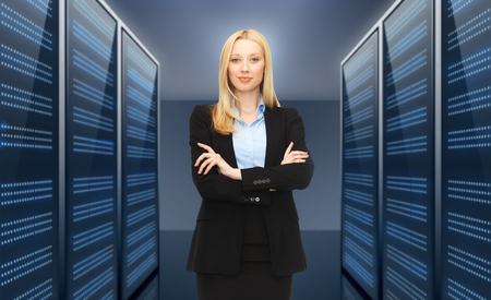 businesswoman or admin over server room background