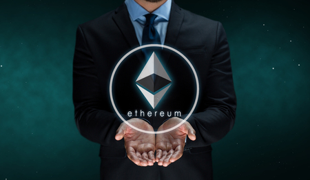 close up of businessman with ethereum over space