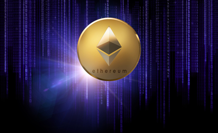 golden ethereum coin over binary code on black Stock Photo