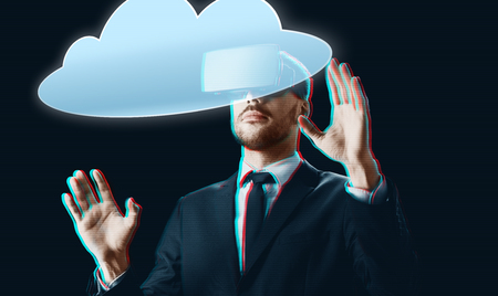businessman in virtual reality headset with cloud Stock fotó