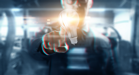 close up of businessman with virtual light bulb