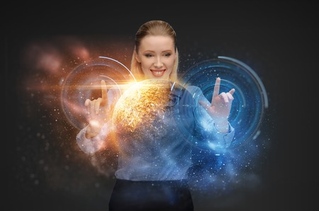 businesswoman with virtual space hologram Stock Photo