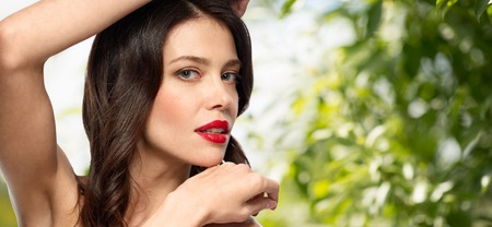 beautiful young woman with red lipstick Stock fotó