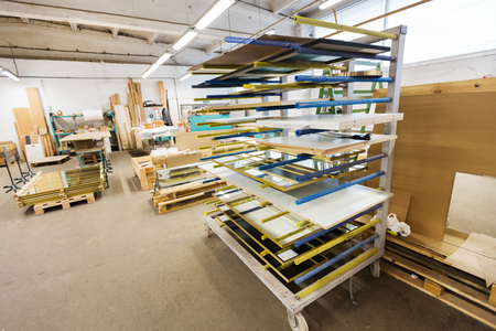 boards storing at woodworking factory workshop