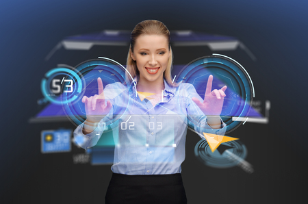 businesswoman with navigator on virtual screen