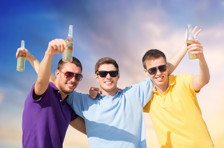 male friends with bottles of drink
