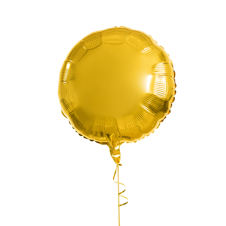 close up of helium balloon over white background