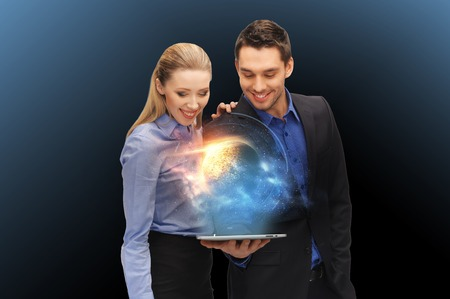 businesspeople with tablet pc and planet hologram