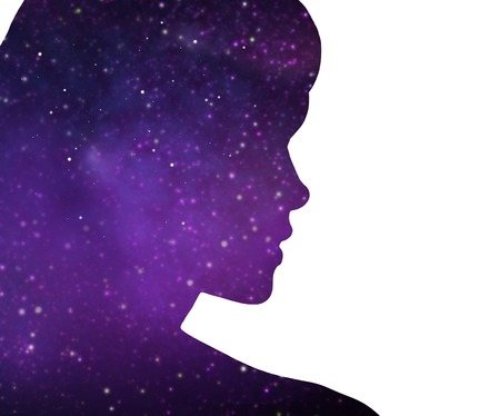 mindfulness and harmony concept - silhouette of woman over ultra violet space background