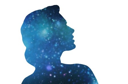 silhouette of woman over blue space background