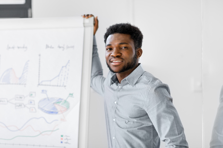 african businessman with flip chart at office