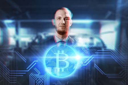 close up of businessman with bitcoin hologram