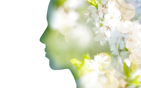 double exposure woman profile with tree foliage