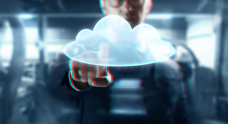 business, technology and computing concept - close up of businessman with cloud projection on virtual screen over abstract background