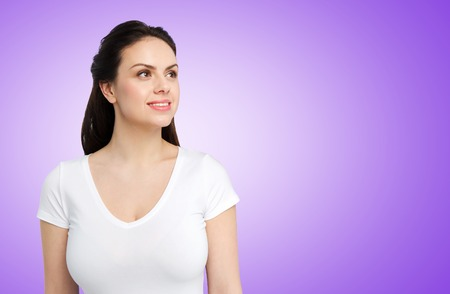 happy woman in white t-shirt Stockfoto