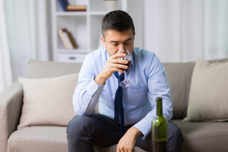 alcoholic drinking red wine at home