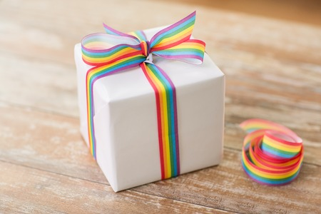 close up of gift box with awareness ribbon