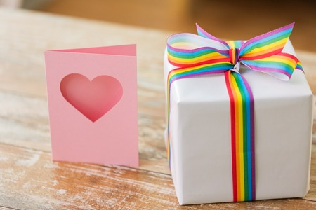 gift with gay awareness ribbon and greeting card Archivio Fotografico