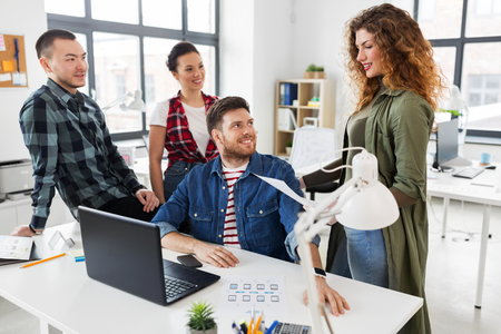 creative team working on user interface at office Stock Photo