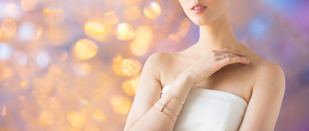close up of beautiful woman with ring and bracelet 写真素材