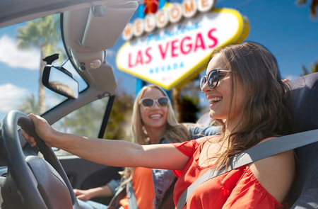 women driving in convertible car at las vegas Stock Photo