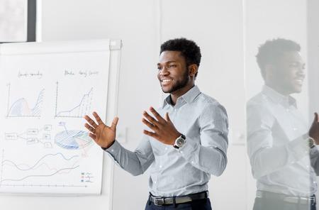 uomo d'affari con lavagna a fogli mobili alla presentazione in ufficio