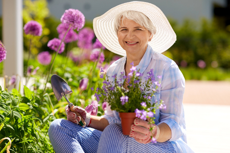 gardening and people concept - happy senior woman planting flowers at summer garden 免版税图像