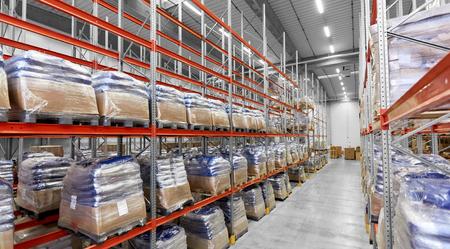 cargo storing at warehouse shelves