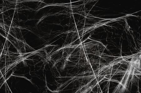 halloween-decoratie van spinnenweb over zwart Stockfoto