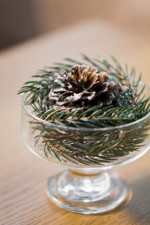 christmas concept - decoration of fir twig with pinecone in ice cream glass or dessert bowl Reklamní fotografie