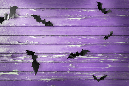 black bats over ultra violet shabby boards Фото со стока