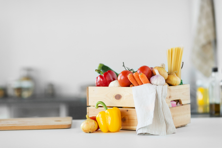 close up of wooden box of fresh ripe vegetables