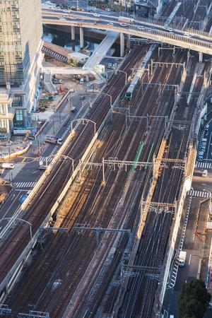 view to railway in tokyo city, japan Фото со стока