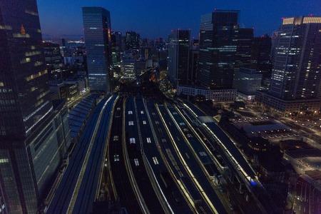 View of night railway station in Tokyo city, Japan Фото со стока