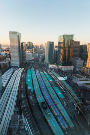 View of railway station in Tokyo city in Japan
