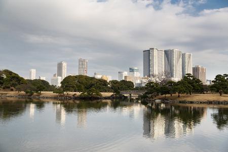 Hamarikyu gardens public park in Tokyo city, Japan