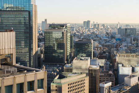 Skyscrapers or office buildings in Tokyo city