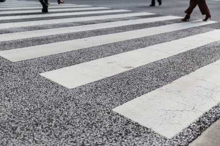close up of crosswalk road surface marking