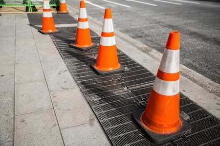 close up of traffic or road cones on city street 写真素材
