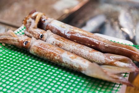 Cerca de calamares frescos en el mercado callejero japonés