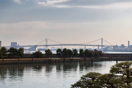 view of rainbow bridge in tokyo, japan